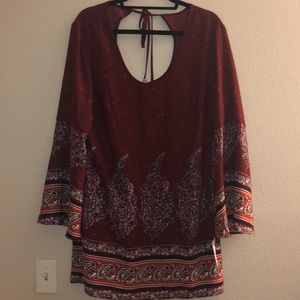 NWT xhilaration boho maroon dress